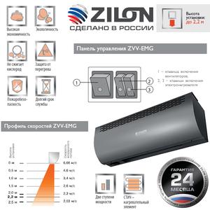 Электрическая тепловая завеса Zilon ZVV-0.8Е5МG серии ПРИВРАТНИК 2.0 ГРАФИТ