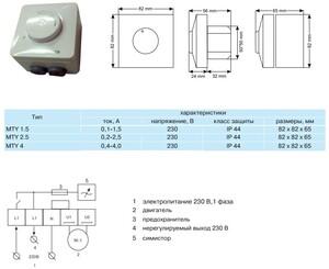 MTY 1,5 Плавный регулятор скорости