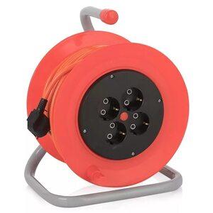 Удлинитель 4 гн КРАТОН, 3*1,5мм, 50м, катушка, оранжевый кабель OXP-19B