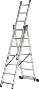 Лестница алюминиевая Кратон трехсекционная 224/363/504, 10,7 кг 3х8 ст.